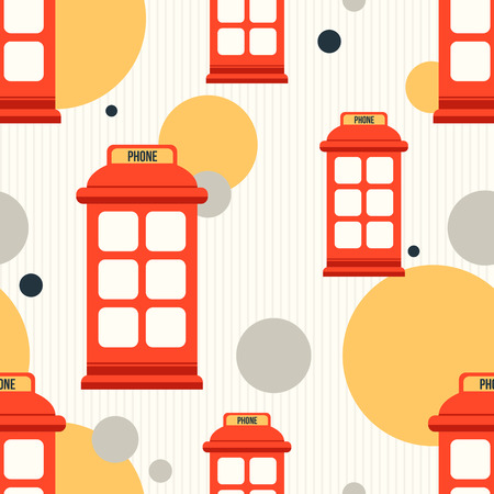 Hipster style seamless pattern with red phone booth. Flat illustration Vector