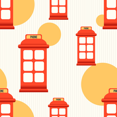 telephone booth: Hipster style seamless pattern with red phone booth. Flat illustration