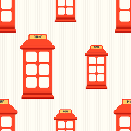 phone booth: Hipster style seamless pattern with red phone booth. Flat illustration