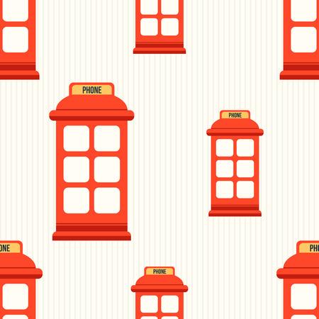 cabina telefonica: Modelo incons�til del estilo inconformista con cabina de tel�fono roja. Ilustraci�n plana