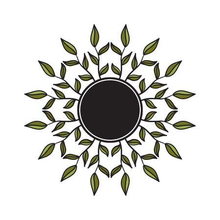 ethno: Ethno style round frame. Tribal floral wreath