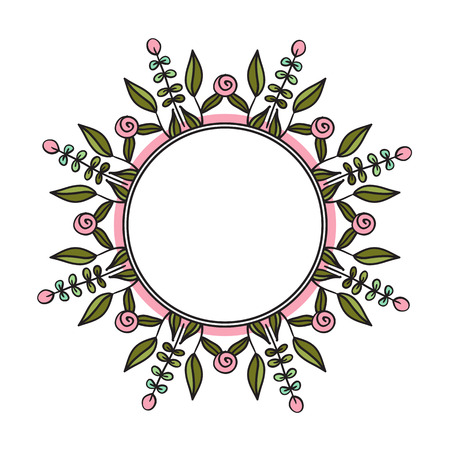 ethno: Ethno style round frame. Tribal floral wreath