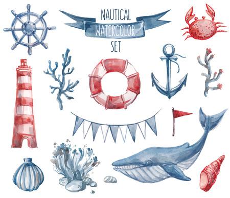아름다운 항해를 설정합니다. 수채화 벡터. 등대, 앵커, 산호, 해초, 고래, 조개, 스티어링 휠 및 부표 링 포함