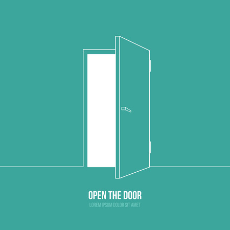 moving office: Vector illustration of open door. Symbol of freedom, hope, success, new way