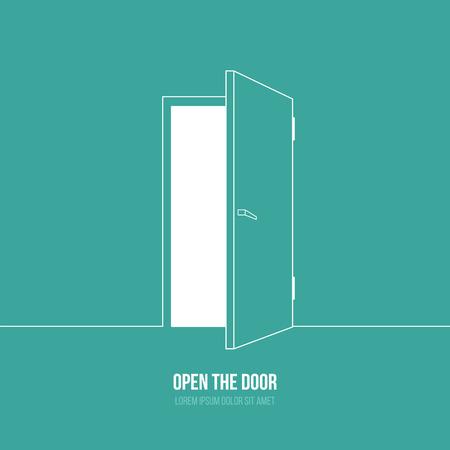 Vektoros illusztráció nyitott ajtót. A szabadság jelképe, remény, siker, új utat Illusztráció