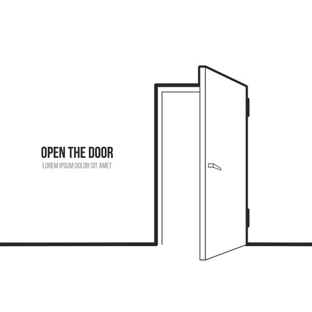 Vector illustration of open door. Symbol of freedom, hope, success, new way