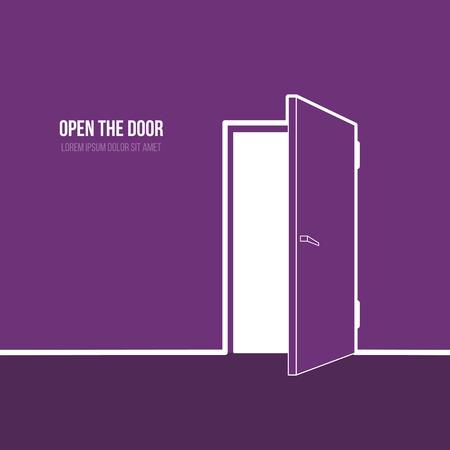 abrir puertas: Ilustraci�n vectorial de puerta abierta. S�mbolo de libertad, esperanza, �xito, nueva forma Vectores