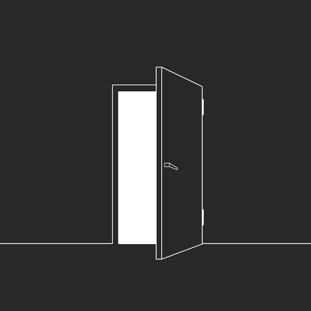 room door: Vector illustration of open door. Symbol of freedom, hope, success, new way