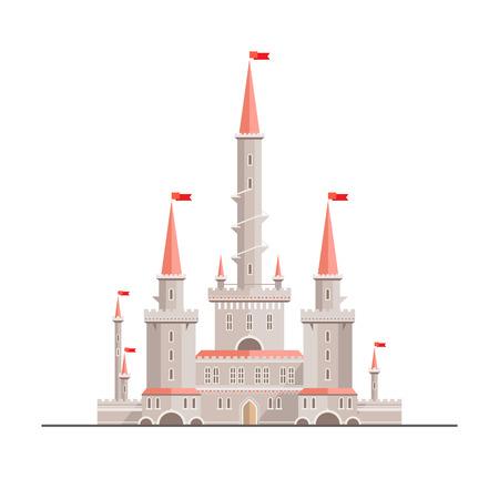 마법의 판타지 성 - 플랫 스타일의 그림입니다. 서적 등, 게임 배경, 웹 디자인에 사용될 수있다 스톡 콘텐츠 - 37128532
