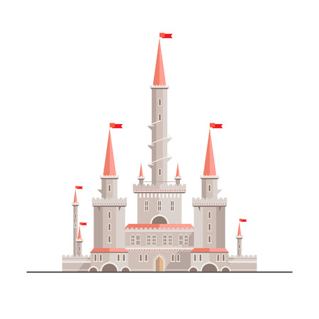 Magic fantasy castle - flat style illustration. Can be used in books, game background, web design, etc. Иллюстрация