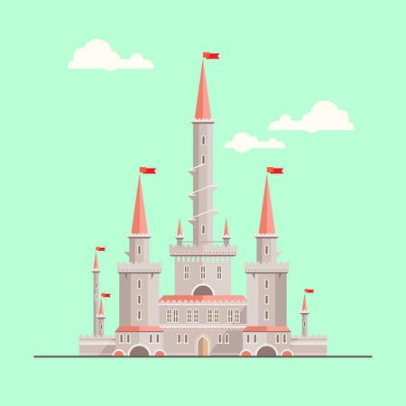 마법의 판타지 성 - 플랫 스타일의 그림입니다. 서적 등, 게임 배경, 웹 디자인에 사용될 수있다 스톡 콘텐츠 - 37128554