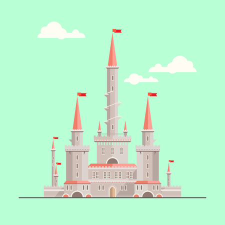 castillos de princesas: Magia castillo de fantas�a - ilustraci�n de estilo plano. Puede ser utilizado en los libros, juego de fondo, dise�o web, etc.