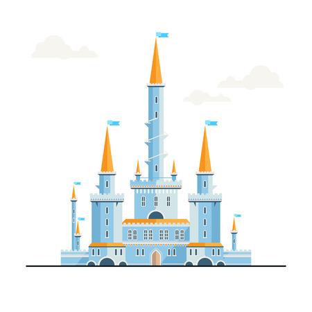fantasy castle: Magic fantasy castle - flat style illustration. Can be used in books, game background, web design, etc. Illustration
