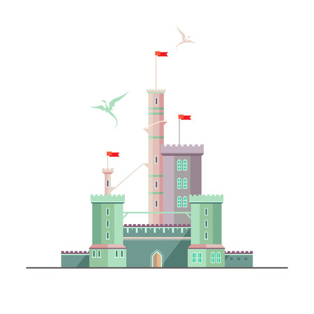 Fantasy castle of dragonlord. Flat style illustration. Can be used in books, game background, web design, etc. Vector