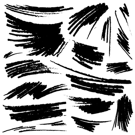 charcoal: Set of hand-drawn pencil strokes. Vector illustration Illustration