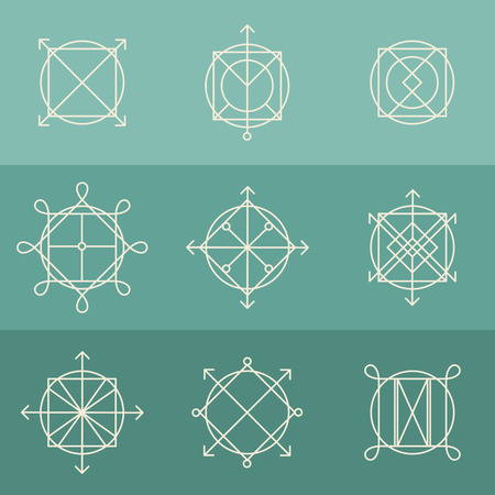 Vector set of outline emblems and badges - abstract hipster icon templates