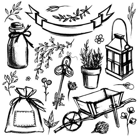 Un ensemble d'outils de jardin et de fleurs isolé sur fond blanc.