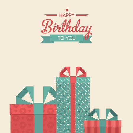 compleanno: Buon compleanno illustrazione vettoriale retr� con doni. Vintage sfondo