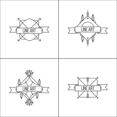 minimalistic: Minimalistic hipster style outline icon set Illustration