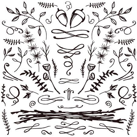 손으로 그린 florals와 스와의 집합입니다. 귀하의 디자인에 대 한 장식 요소입니다. 초대장, 날짜, 결혼식 카드를 저장합니다.