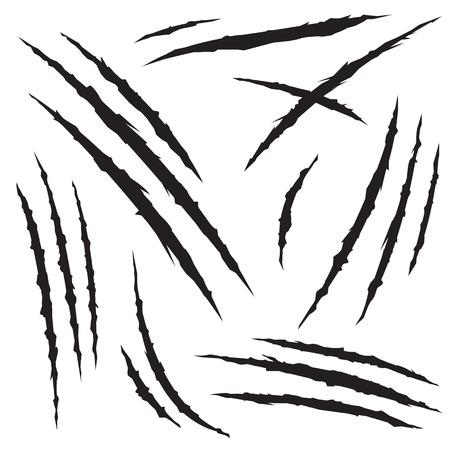 Набор коготь царапин, изолированных на белом фоне, векторные иллюстрации Иллюстрация