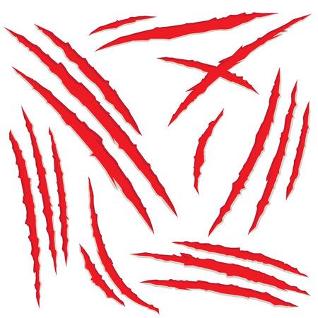 loup garou: Set de rayures de griffes, isolé sur fond blanc, illustration vectorielle Illustration
