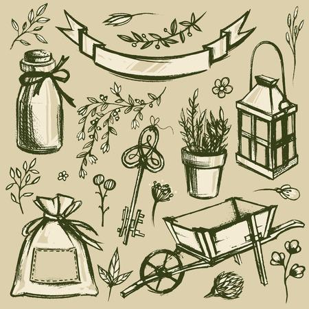 garden key: Set of garden tools and florals. Hand drawn vintage illustration