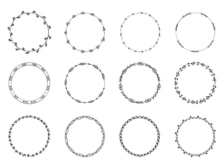 wreath collection: Set of 12 had-drawn ornamental wreaths. Isolated on white background Illustration