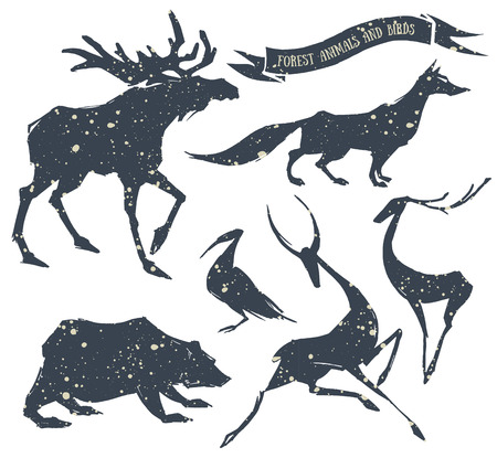 moose: Hand-drawn set of forest animals and birds