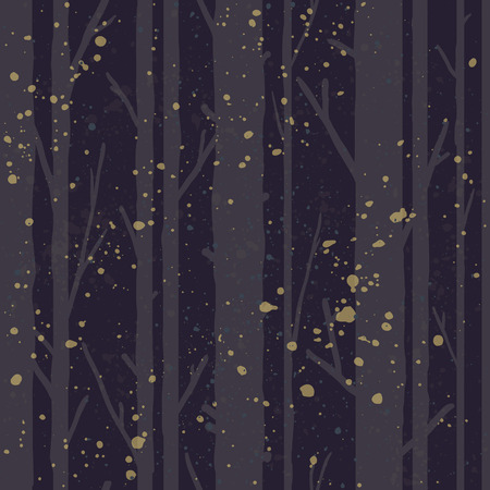Forest seamless pattern with trees. Seasonal background. Иллюстрация