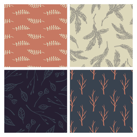 Set of 4 hand-drawn forest backgrounds. Seamless patterns Vector