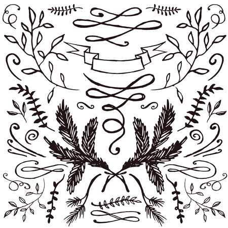 Set of hand-drawn florals and flourishes. Decorative elements for your design. Invitations, save the date, wedding cards. Иллюстрация