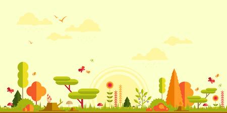 숲 평면 배경. 디자인을위한 간단하고 귀여운 풍경 스톡 콘텐츠 - 40032064