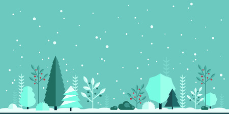 cartoon berries: Winter forest flat background. Simple and cute landscape for your design