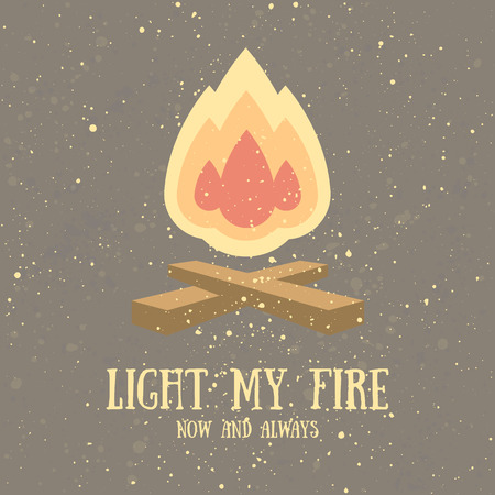 bonfire: Beautiful greeting card with bonfire and grunge texture