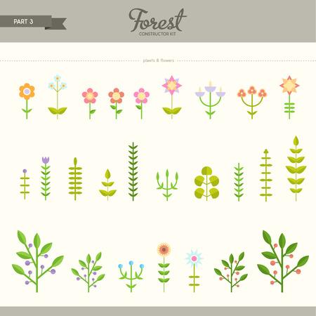 Foresta Kit costruttore - parte 3. Fiori e piante. Bello e alla moda insieme di elementi piani. Molto utile per creare sfondi e modelli Archivio Fotografico - 40032328