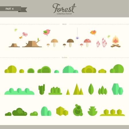 숲 생성자 키트 - 제 4 부 관목 장식 요소. 평면 요소의 아름답고 트렌디 한 세트. 배경과 패턴을 만드는 데 매우 유용합니다 스톡 콘텐츠 - 40032330