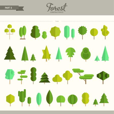 boom: Bos bouwer kit - deel 5. Echt grote set van verschillende bomen. Mooi en trendy set vlakke elementen. Zeer nuttig om achtergronden en patronen te creëren Stock Illustratie