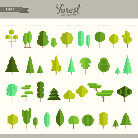 ecology icons: Forest constructor kit - part 5. Really big set of different trees. Beautiful and trendy set of flat elements. Very useful to create backgrounds and patterns