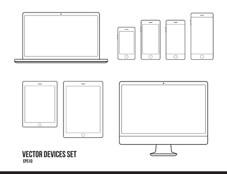 Set of modern gadgets. Smartphone, tablet, notebook, computer. Great for web projects, infographics, etc. Vector