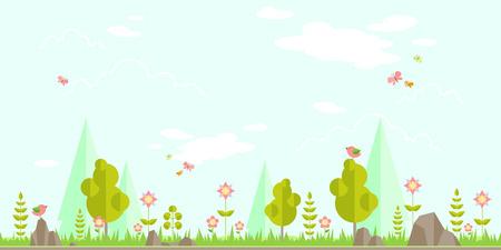 봄 숲 평면 배경. 디자인을위한 간단하고 귀여운 풍경 일러스트