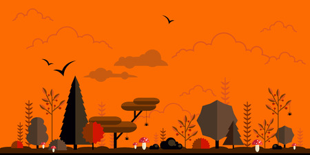 Halloween forest flat background. Simple and cute landscape for your design