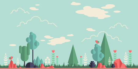 Summer forest flat background. Simple and cute landscape for your design