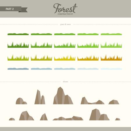 숲 생성자 키트 - 2 부 잔디와 돌. 평면 요소의 아름답고 트렌디 한 세트. 배경과 패턴을 만드는 데 매우 유용합니다 일러스트