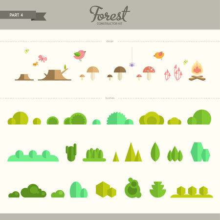 constructor: Forest constructor kit - part 4. Bushes and decorative elements. Beautiful and trendy set of flat elements. Very useful to create backgrounds and patterns Illustration