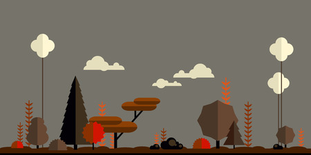 Autumn forest flat background. Simple and cute landscape for your design Vector