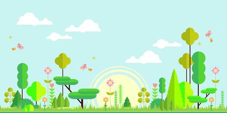 animales del bosque: Bosque del verano de fondo plano. Paisaje simple y lindo para su dise�o