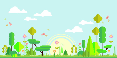 jungle green: Summer forest flat background. Simple and cute landscape for your design