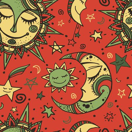 태양, 달과 별 부족 원활한 패턴입니다. 손으로 그린 배경 디자인을위한입니다. 포장지, 커버, 섬유 인쇄용으로 적합합니다. 스톡 콘텐츠 - 45533584