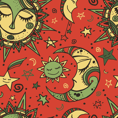 Tribal seamless pattern with sun, moon and stars. Hand-drawn background for your design. Great for wrapping paper, covers, textile print. Vectores